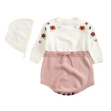 2020 סתיו תינוק Bodysuits סרוג כובעי טהור בעבודת יד רקום בגדים סיאמיים ילדה משולש טיפוס מעיל וכובע