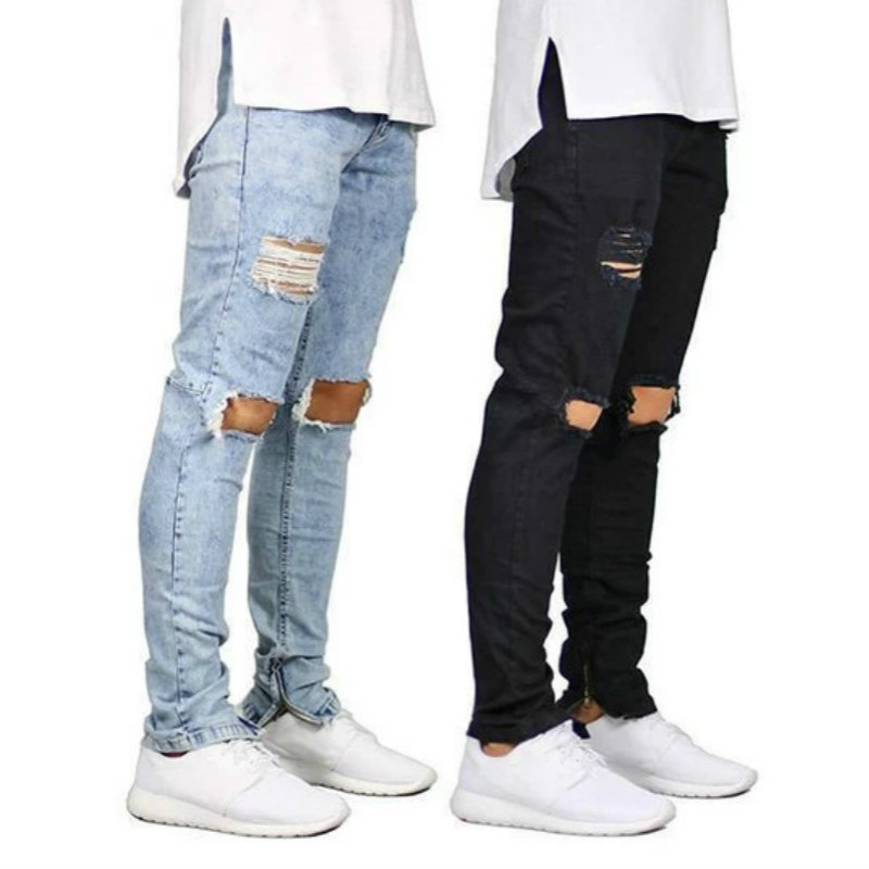 Destroyed Ripped Jeans Men Hollow Out Big Holes Beggar Cropped Denim Pants Trousers Casual Mens Skinny Side Zipper Pencil Pants