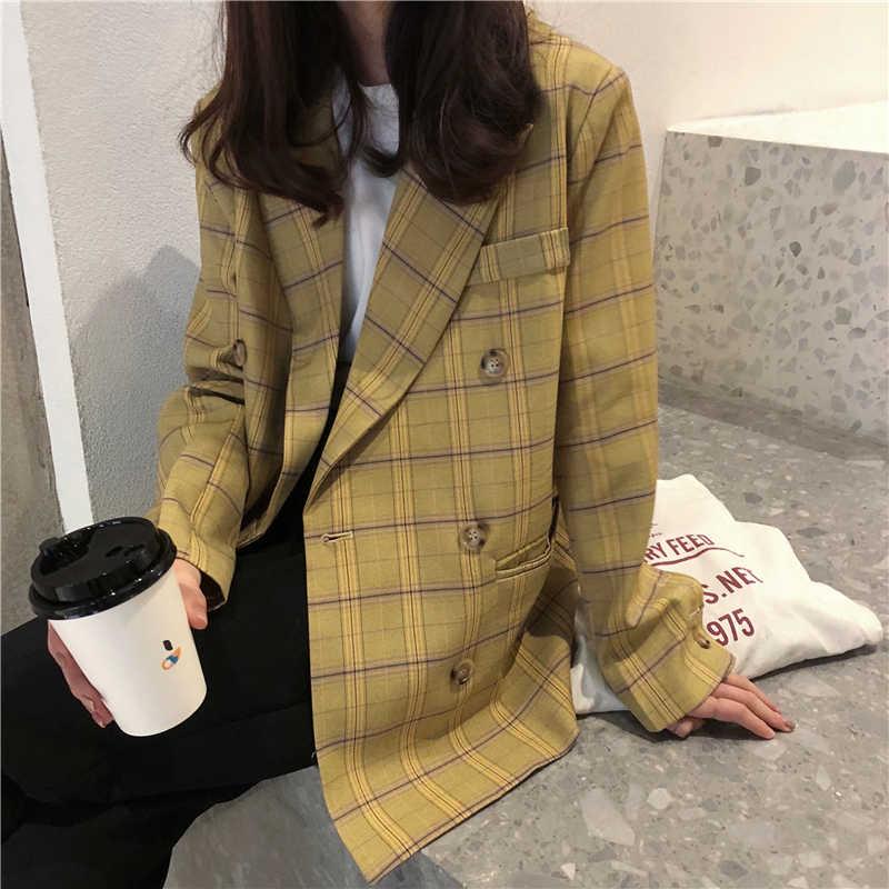 Vintage Streetwear Plaid mujer Casual blazers delgados traje suelto abrigo Oficina señoras chaquetas pasarela mujer blazers mujer 2019 S0108