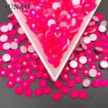 JUNAO SS16 SS20 неоновая Роза, Стразы для ногтей, круглые, хрустальные, каменные аппликация, плоские сзади, Алмазный страз, изделия для одежды