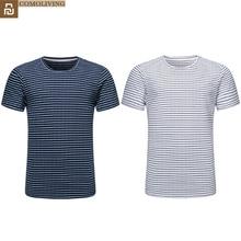 Youpin COMOLIVING 코튼 스트라이프 티셔츠 Simple Homely Comfort 정전기 방지 옷 라운드 넥 셔츠 남성용 H30