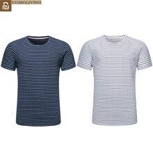 Youpin comoliving algodão listra t shirts simples conforto caseiro evitar estática eletricidade roupas em torno do pescoço camisa para o homem h30