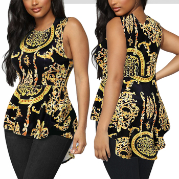 Vintage Shirt Blouse Women Summer Print Tops Irregular Hem Tunic  blusas mujer Sleeveless Shirts roupas feminina Casual Shirt grey flap over detail off shoulder irregular hem t shirt