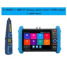 Câmera ip tester 7 polegada cctv kamery vídeo tester h.265 8mp tvi cvi ahd monitor com saída rj45 hdmi poe câmera de segurança tester