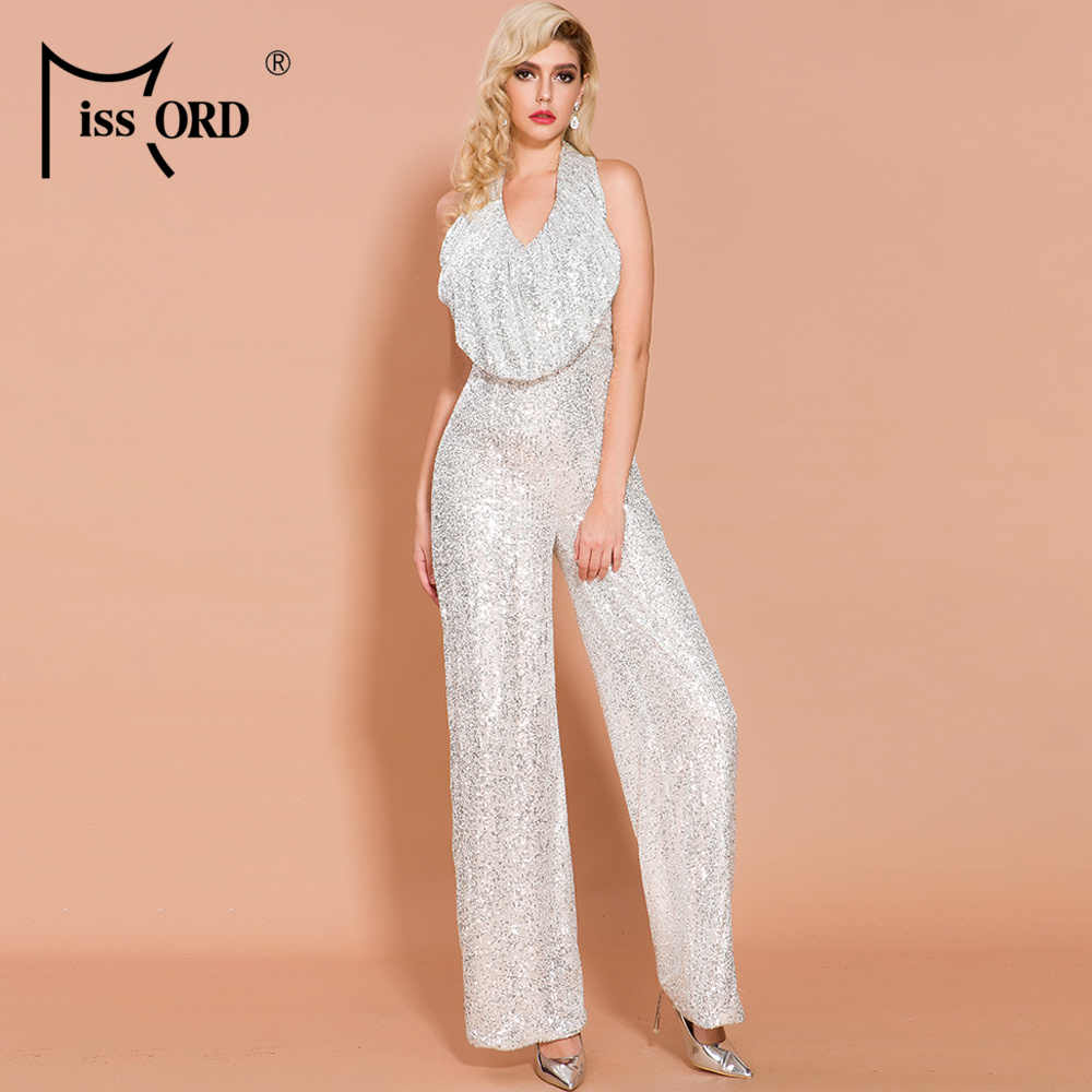 Missord 2020 Vrouwen Zomer Sexy Off Shoulder Ruches Sequin Backless Elegante Jumpsuit FT19767