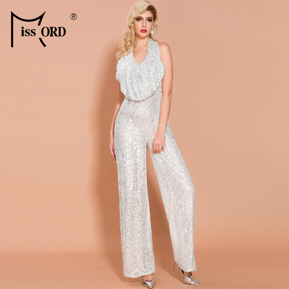 Missord 2020 Women Summer Sexy Off Shoulder Ruffles Sequin Backless Elegant  Jumpsuit FT19767|Jumpsuits|Women's Clothing - title=