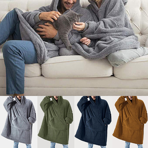 Couple Solid Hooded Sweatshirt Wearable Blanket Fleece Pullover With Front Pocket Super Soft Warm Comfortable Home Clothing