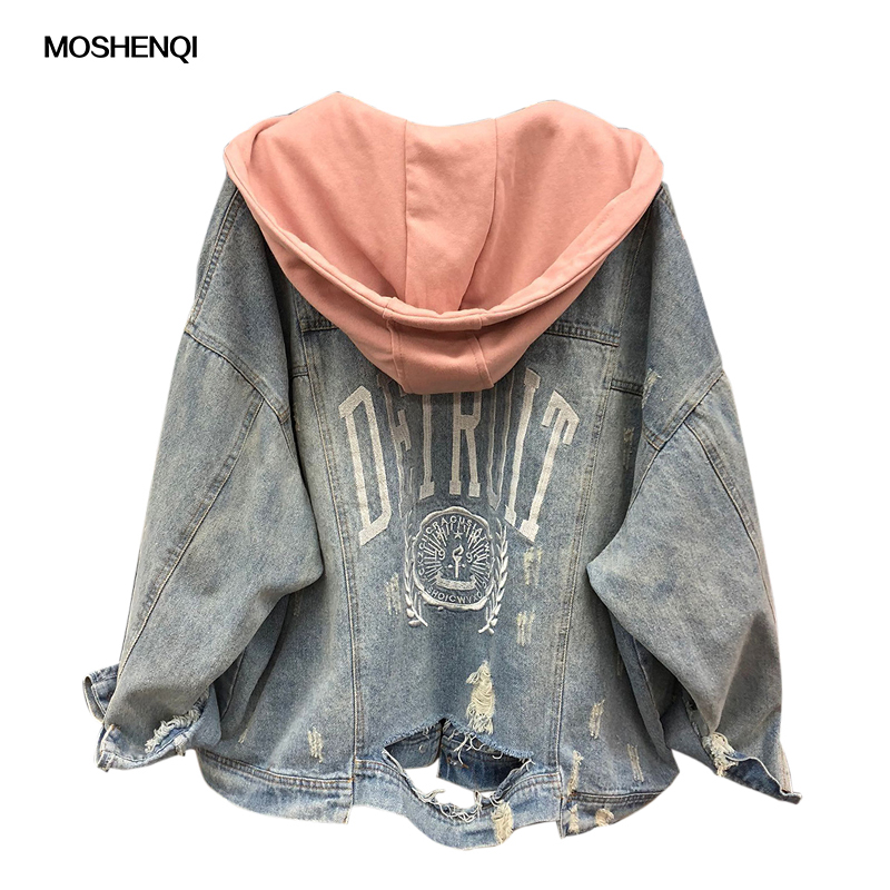 MOSHENQI Denim   Jacket   Women Autumn Coat Ripped Hooded Outerwear Coats Windbreaker   Basic   Baggy Boyfriend Female Jeans   Jacket