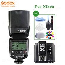 Godox TT600 2.4G HSS lampa błyskowa Speedlite + X1T N nadajnik dla Nikon DSLR