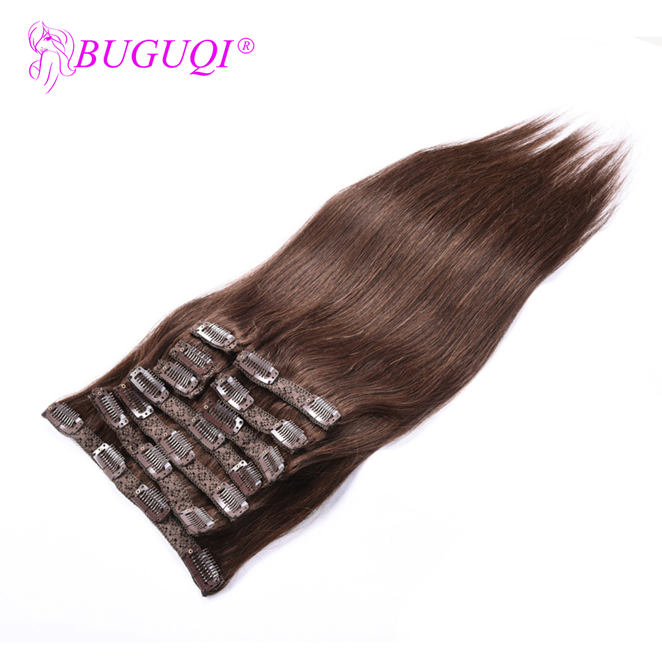 BUGUQI Hair Clip In Human Hair Extensions Mongolian #4 Remy 16- 26 Inch 100g Machine Made Clip Human Hair Extensions
