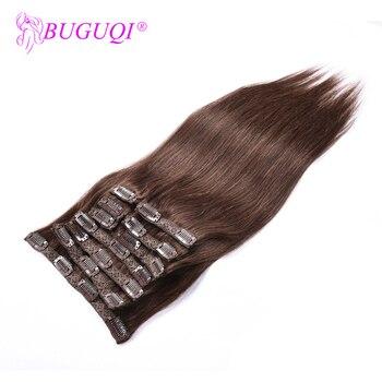 BUGUQI Hair Clip In Human Hair Extensions Mongolian #4 Remy 16- 26 Inch 100g Machine Made Clip Human Hair Extensions
