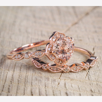CHAMSS Rose Gold Square Engagement Ring Elegant Temperament Feminine Valentine Gift 3