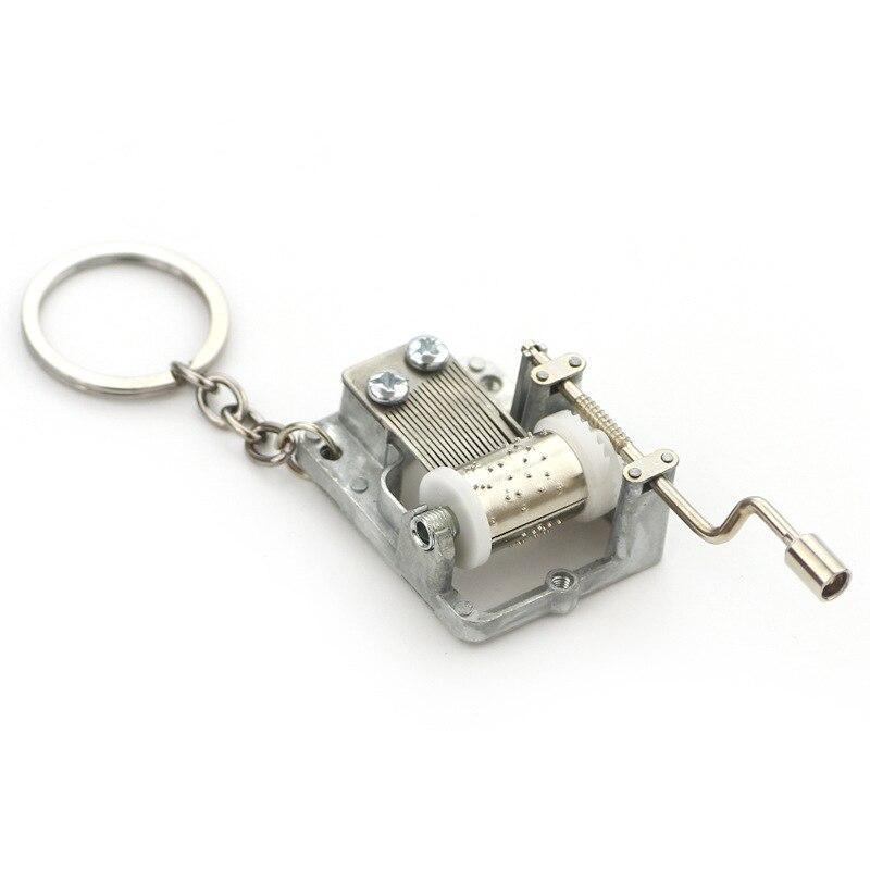 Creativity Funny Hand Crank Music Box Keychain Unique Metal Music Box Key Chain Men Women Best Birthday Gifts for Her Him