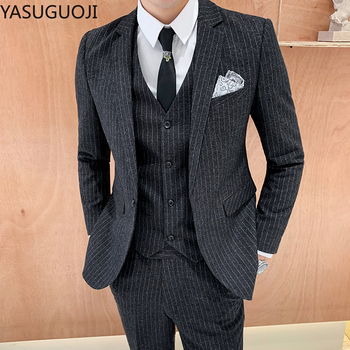 Yasuguoji Men S Business Casual Striped Suit 2020 Men S Slim Fit Suit Three Piece Men Suits Costumes Homme Jacket Pant Vest Buy At The Price Of 68 59 In Aliexpress Com Imall Com
