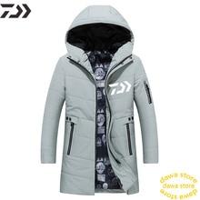 Daiwa куртка ветрозащитная согревающая Мужская одежда для рыбалки из плотного хлопка для пеших прогулок Спортивная одежда для рыбы с длинным рукавом Однотонная Джерси