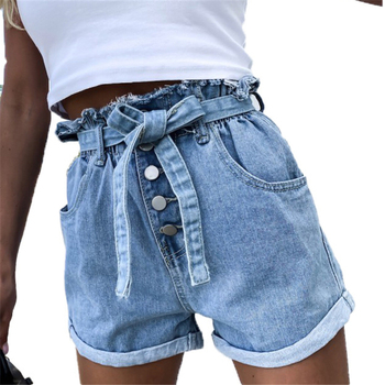 Rolled Hem Denim Shorts Women Pocket Elastic High Waist Jeans Shorts Summer Casual Loose Straight Leg Ladies Belted Jean Shorts цена 2017