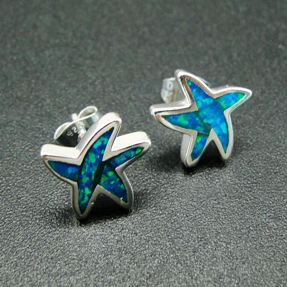 """STERLING SILVER BLUE OPAL STARFISH WITH 18/"""" BOX CHAIN"""