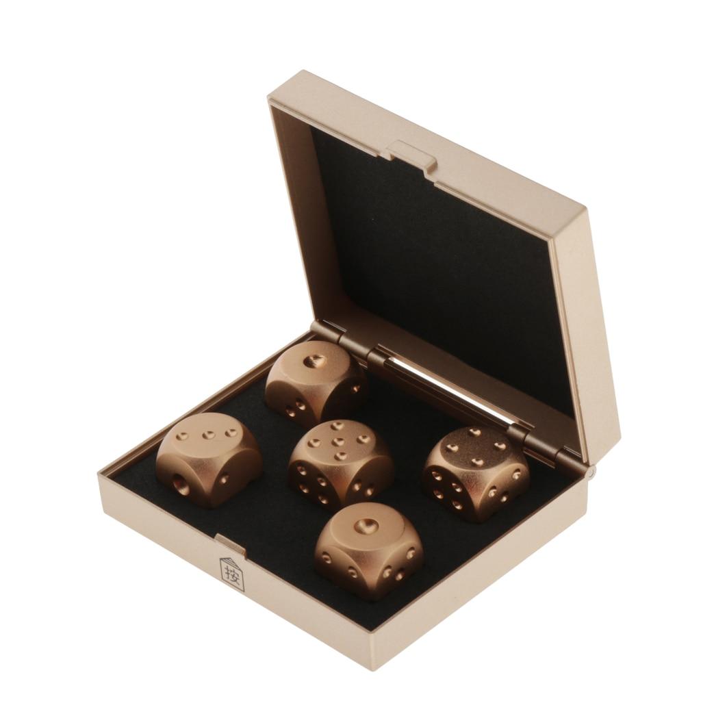 Lote 5 dados de seis lados D6 16mm 0,63 pulgadas estándar troquel Metal dorado con caja
