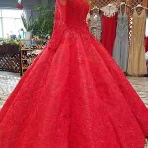 Image 3 - LS39411 vestido rojo largo hasta el suelo para novia, vestidos de fiesta de boda con cuello redondo, manga larga de tul con cordones en la espalda, vestido de noche plisado barato a precio real