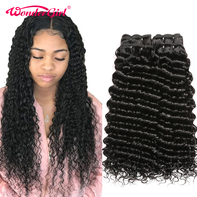 Human Hair Bundles Deep Wave Bundles Deal 28 30 Inch Bundles Peruvian Hair Bundles Wonder girl Remy Hair Extensions Human Hair