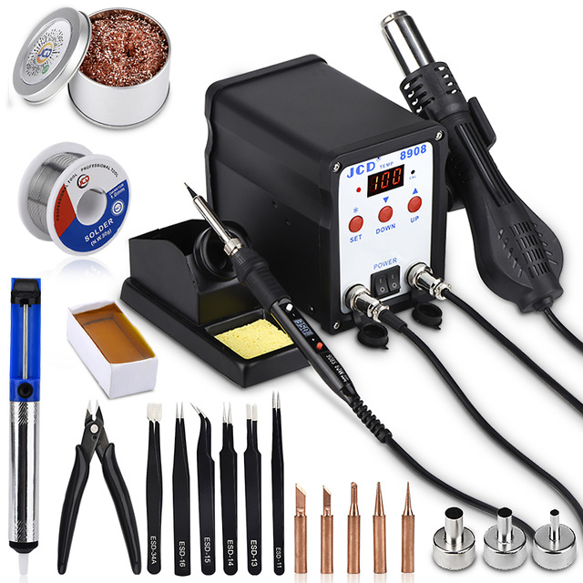 JCD 2 In 1 Soldering Station SMD BGA Rework LCD Digital 750W Station Hot Air Gun Welding Repair Soldering Iron Tools 8908