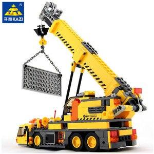 Image 1 - 380 sztuk miasto żuraw ciężarówka urządzenie inżynieryjne budowa Technic zestawy klocków budowlanych Playmobil DIY montaż cegieł zabawki dla dzieci