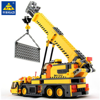 380Pcs City Crane Truck Engineering Vehicle Construction Technic Building Blocks Sets Playmobil DIY Assembly Bricks Kids Toys