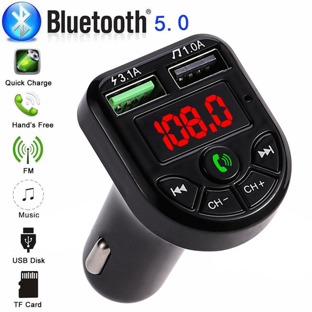 Wireless In-car Bluetooth 5.0 FM Transmitter With LED Display MP3 Car FM Stereo Radio Adapter Car Fast Charger With Microphone image
