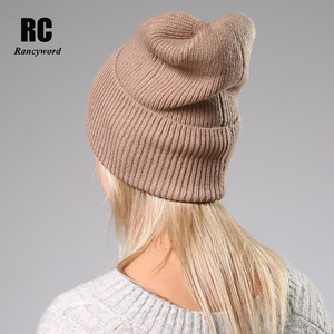 Image 3 - 2020 New Winter Solid Color Wool Knit Beanie Women Fashion Casual Hat Warm Female Soft Thicken Hedging Cap Slouchy Bonnet Ski