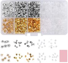 1200Pcs Earring Backings 10 Styles Back Clips Bullet Shape Butterfly Metal Rubber Plastic Secure for Safety