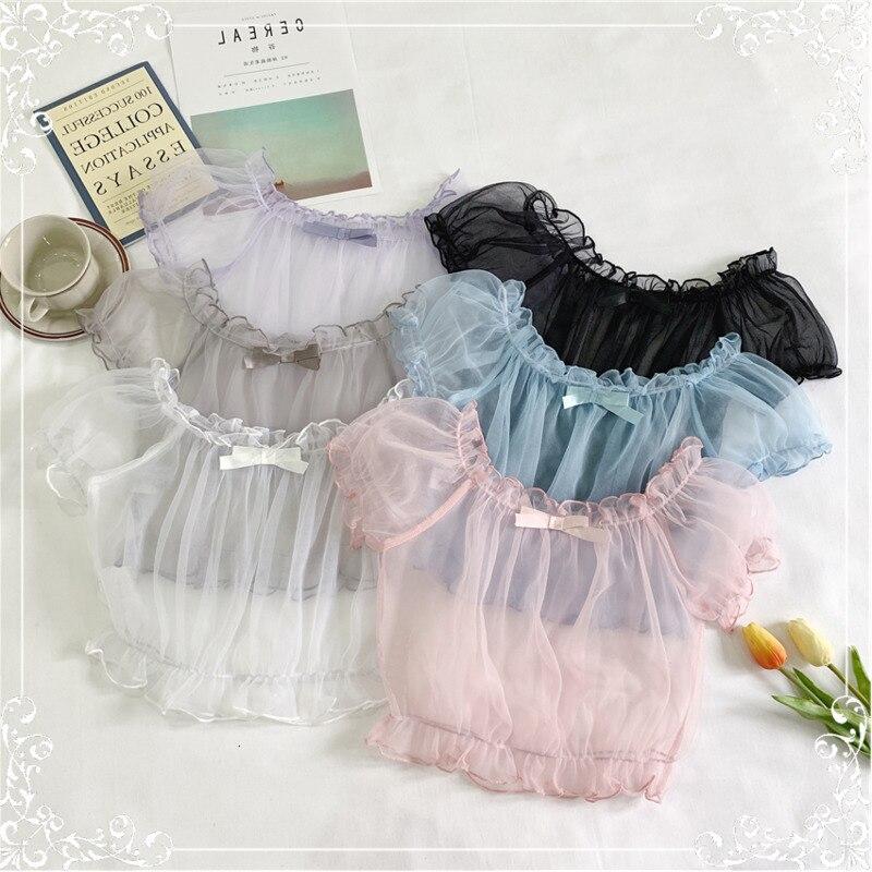 Super Fairy Japanese Soft Ruffle Top Lolita Lined Cute Sweet Lace Puff Sleeves Women Harajuku Shirt Sleeve Chiffon Shirt
