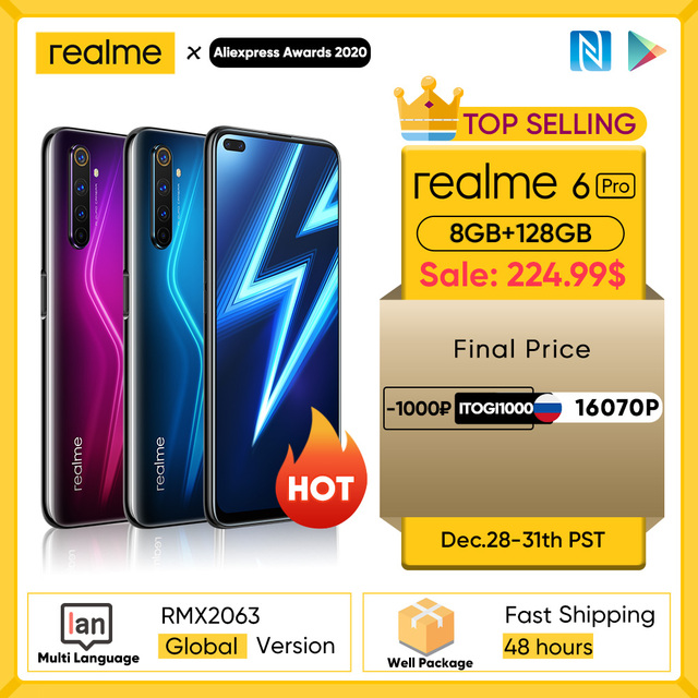 Realme 6 Pro Mobile Phone 6.6inch 90Hz Display 64MP Camra 8GB 128GB Snapdragon 720G Smartphone 4300mAh Battery 30W Flash Charge 2