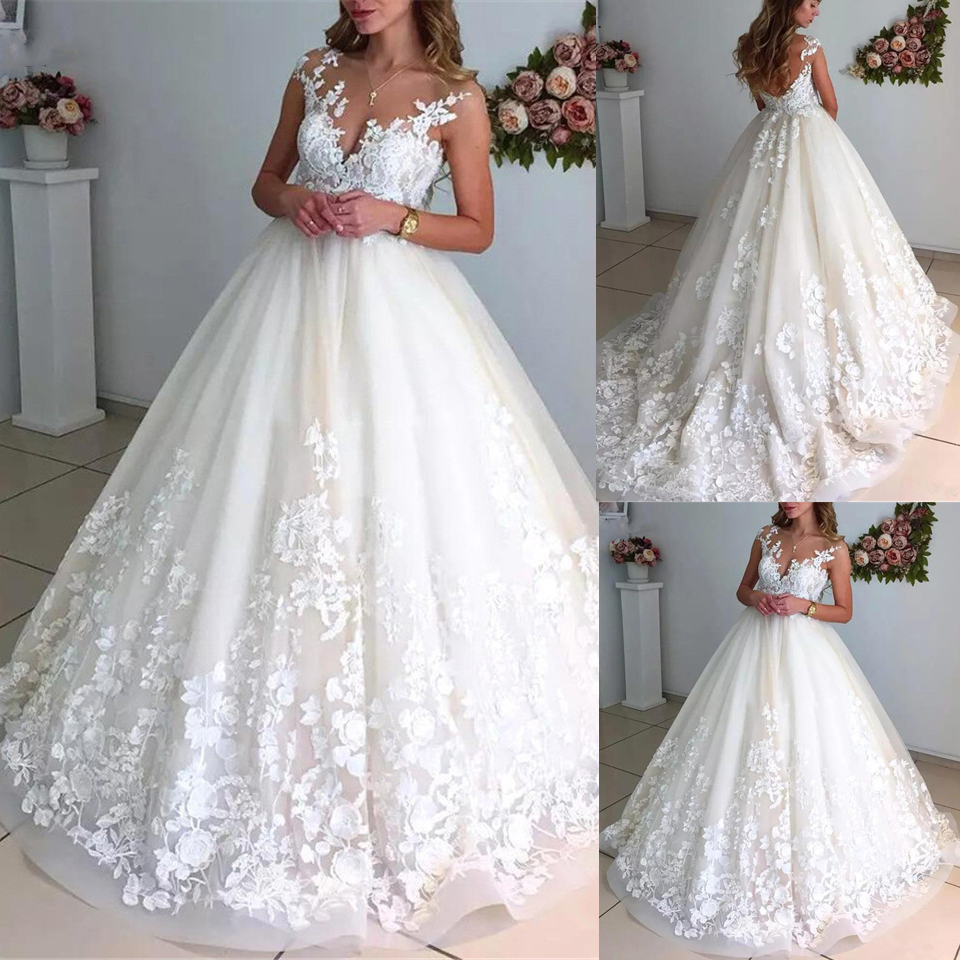 Ball Gown Wedding Dresses 2020 Scoop Sleeveless Open Back Tulle & Lace With Appliques Bridal Gowns Sweep Train Vestidos De Noiva