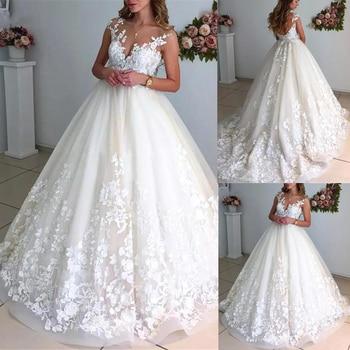 Elegant Ball Gown Wedding Dresses 2021 Scoop Neck Sleeveless Open Back Exquisite Lace Appliques Bridal Gowns Vestidos De Noiva - discount item  40% OFF Wedding Dresses