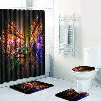 4pcs/set 3D Print Waterproof Bathroom Shower Curtain Polyester Toilet Seat Cover Floormat Carpet Anti slip Bath Mat Home Decor
