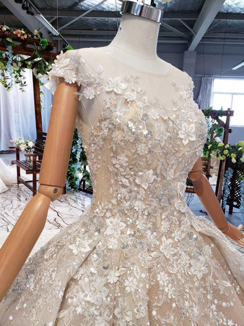 HTL728 יוקרה חתונה שמלה עם קתדרלת רכבת אפליקציות ואגלי נצנצים כדור שמלת כלה שמלה ארוך טול vestido matrimonio