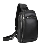 MAHEU Classic Black Leather Chest Bag With USB Function 100% Genuine Leather Chest Packs USB Sling Bags For Men outdoor hiking