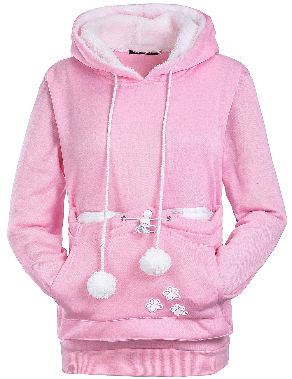 Korea style sweet cartoon dog girl fleece hooded long sleeve pullover woman sweatshirt hot sales big pockets