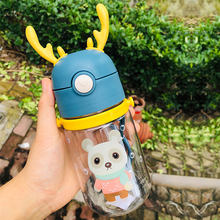 Drinking Plastic Bottle Milk Carton Water Bottles Sport For Girl Children Kawaii Cups With Straw My Bottle Travel Feeding Bottle
