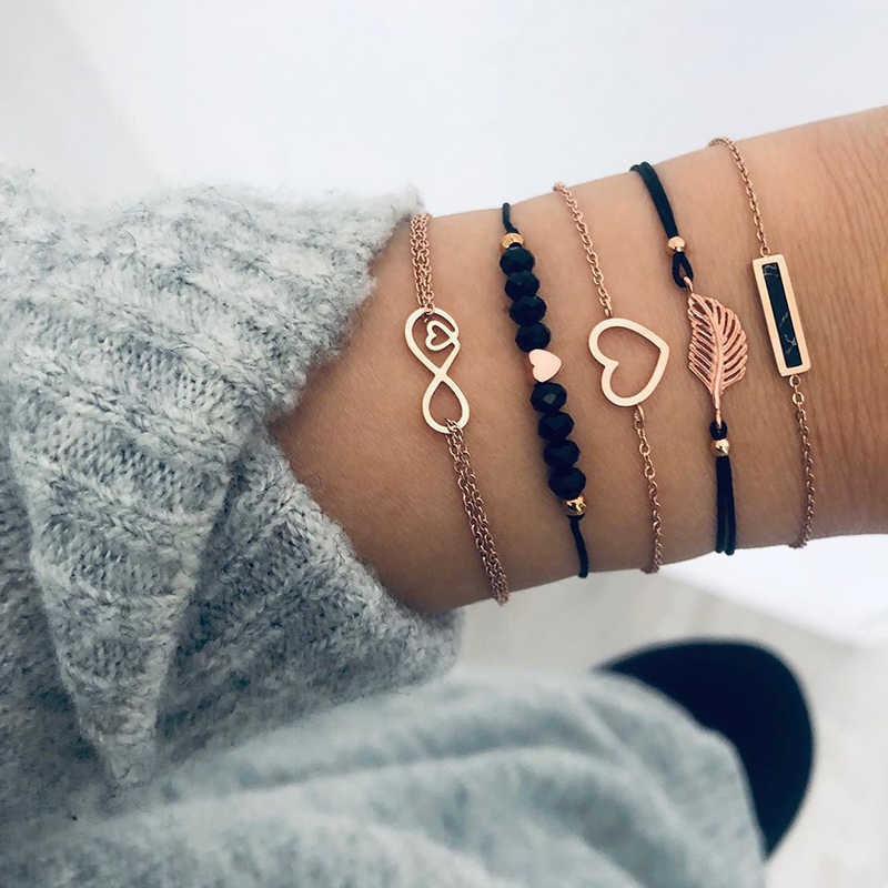 Modyle Bohemian Black Beads Chain Bracelets Bangles For Women Fashion Heart Compass Gold Color Chain Bracelets Sets Jewelry Gift