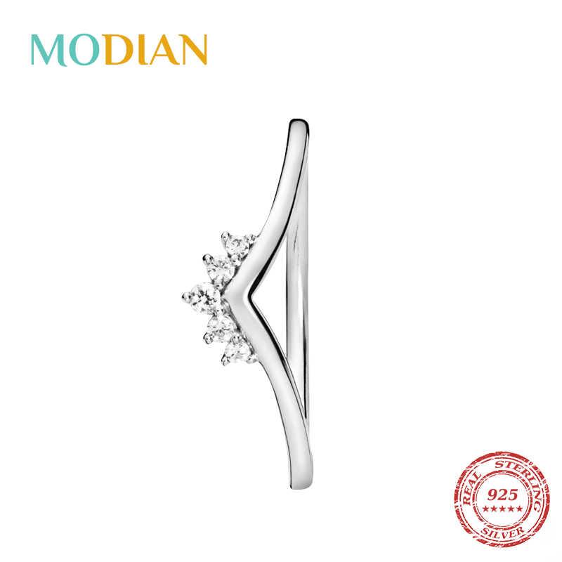 Modian 2020 Hot 100% 925 Sterling Silver Berkilau Stackable Jari Cincin untuk Wanita Fashion Asli Natal Hadiah Perhiasan
