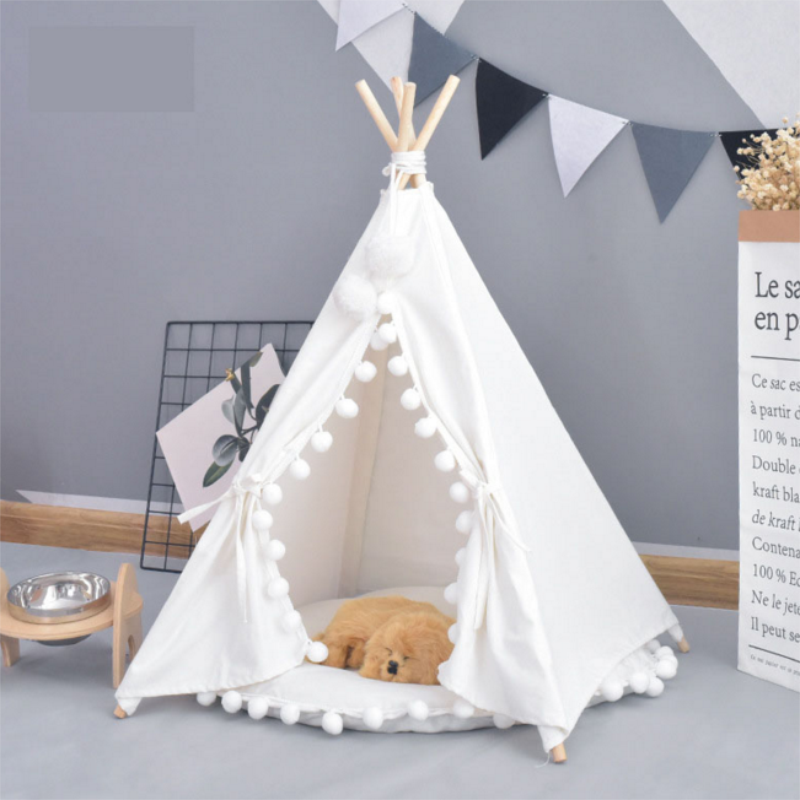 Pet House Cute <font><b>dog</b></font> tent outside tent House <font><b>Kennels</b></font> Washable Tent Puppy Cat Indoor Outdoor Portable Teepee Mat 2 Styles image