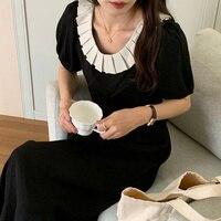 2021 sommer Kleid Koreanische Chic Französisch Weichen Gefaltetes Blütenblatt Kragen Kontrast Nähte Open Back Lace Up Taille Geschlossen Blase Hülse