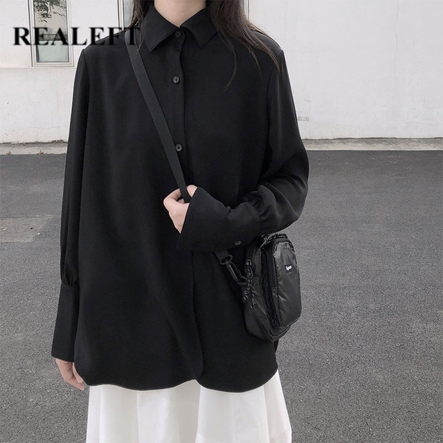 REALEFT 2020 Spring Women's Blouses Shirts Long Sleeve Turn-down Collar Korean OL Style Vintage Office Lady Black Ladies Tops 1