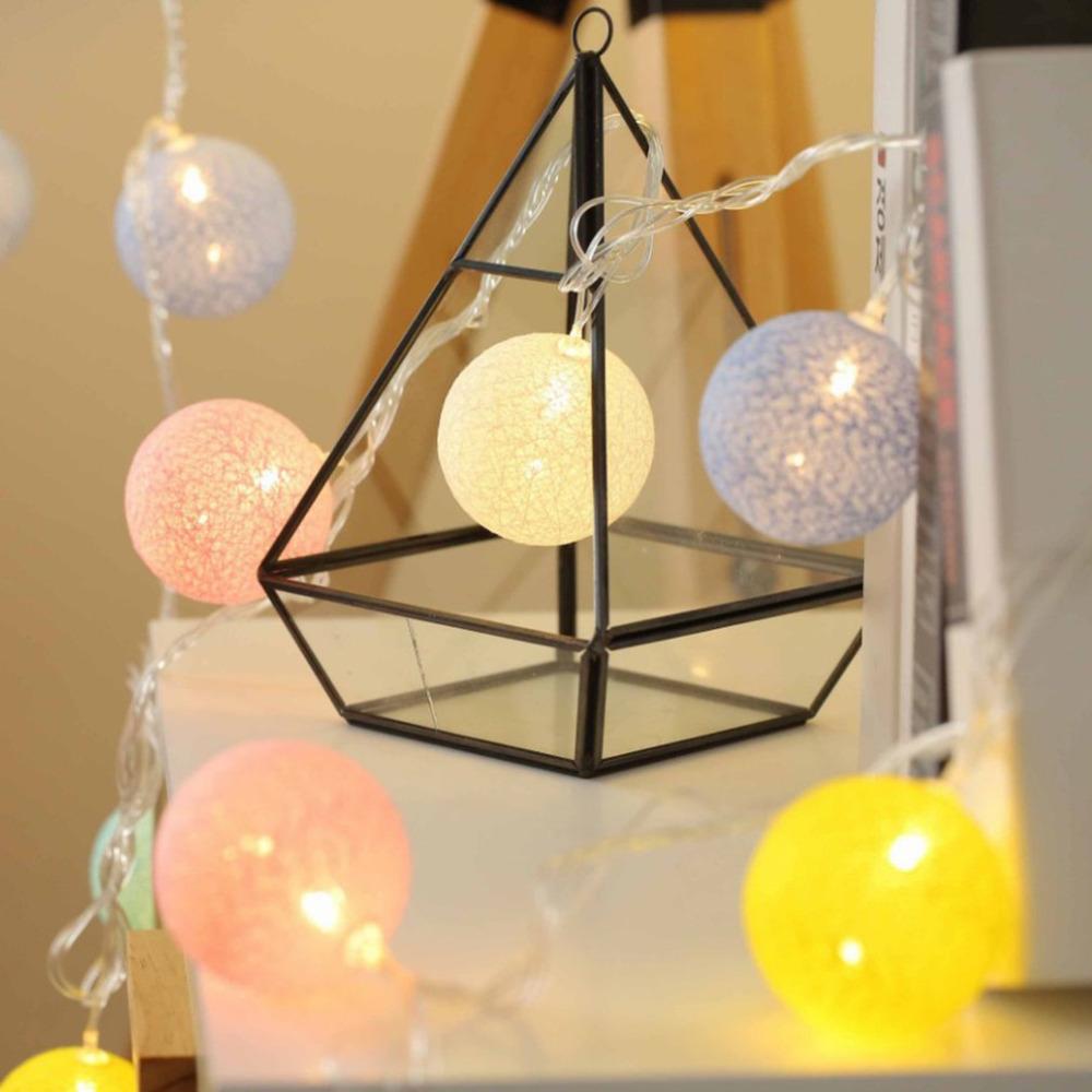 20 DEL Globe Guirlande Boule de Coton chaîne fée lumières Noël décorer Batterie