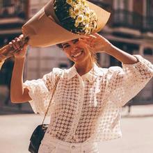 Elegant See Through Daisy Blouse Women Summer Autumn Nine Quarter Sleeve Fashion Ladies