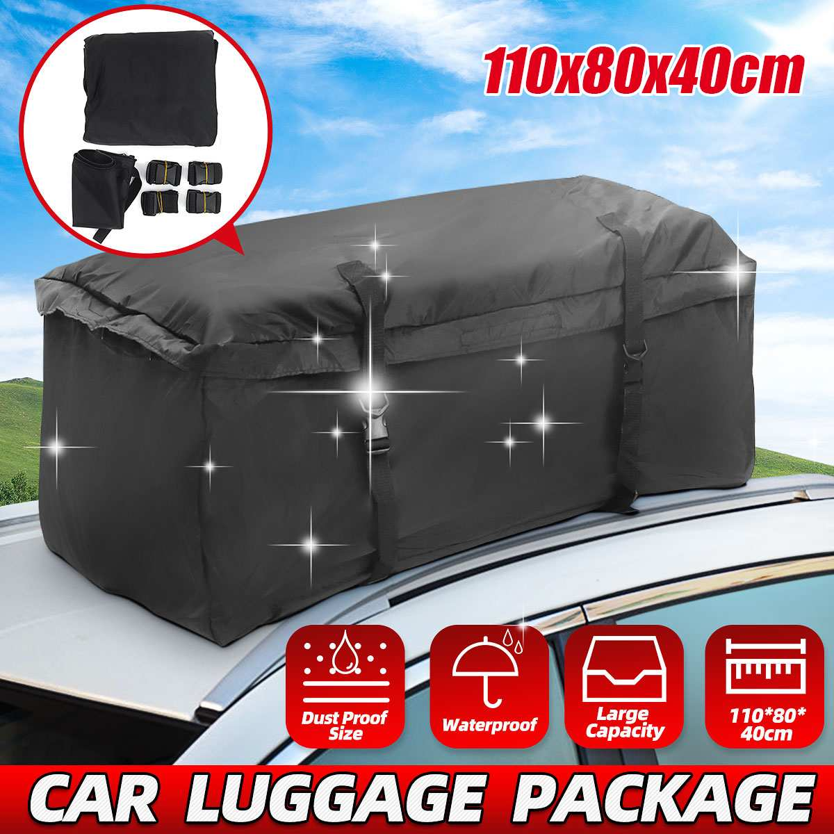 110x80x40cm Universal Car Roof Top Rack Bag Waterproof Cargo Carrier Luggage Storage Travel Waterproof Cargo Black Storage Bag