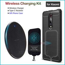 ワイヤレス充電xiaomi mi 8 9 9t se liteプロA1 A2 A3 5X 6X CC9e F1チーワイヤレス充電器 + usbタイプc受信機ギフトtpuケース