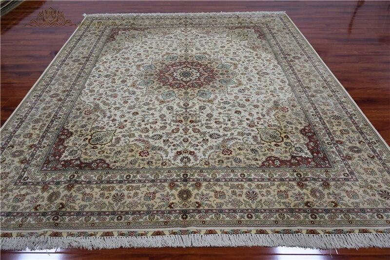 8x10 pies alfombra de seda anudada a mano gran medallón alfombra de área hecha a mano