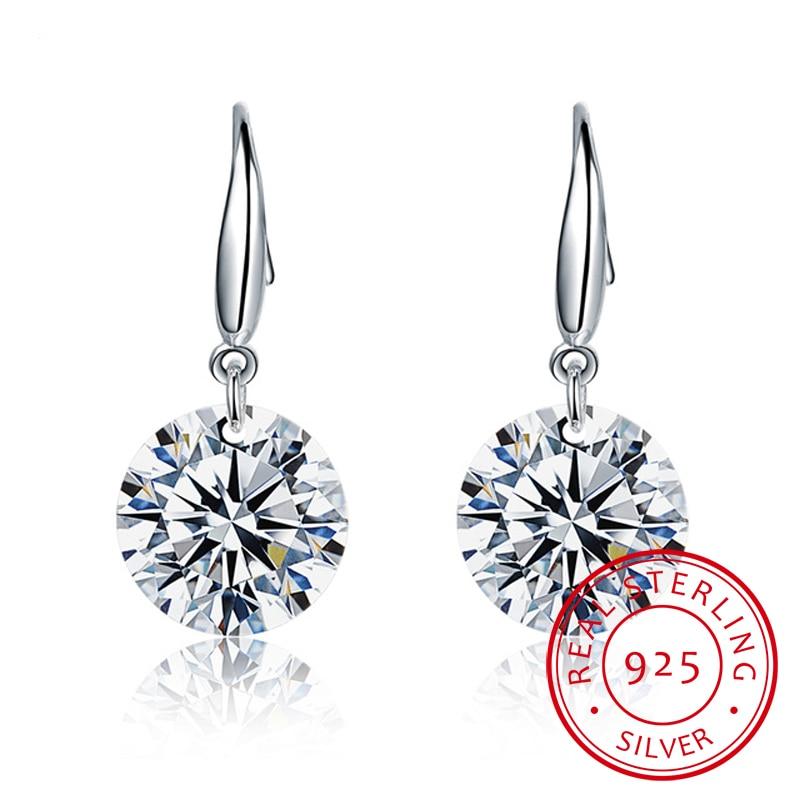 Crystal From Swarovski 925 Sterling Silver Drop Earrings For Women Fish Ear Hook Earrings Dangle Cz Stone Pendant Earring